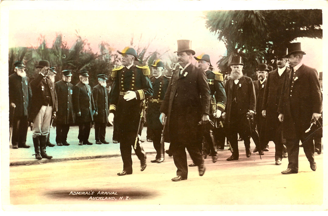 Admiral Sperry and the Mayor of Auckland at Arrival Ceremony