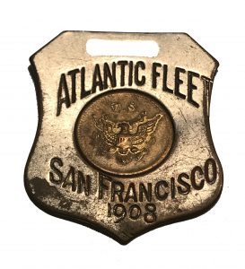 Atlantic Fleet San Francisco 1908.  On back is a ship with inscription, U.S.N