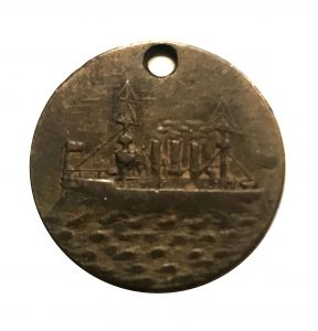 USS Virginia - a small bronze charm showing the ship - 3/4