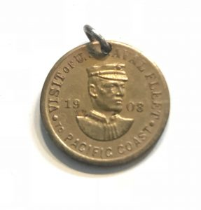 Necklace charm of Admiral Evans - Visit of the Naval Fleet to Pacific Coast 1908