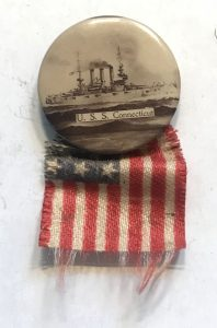 USS Connecticut and the American Flag - small button from San Francisco Fleet Visit
