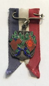Japanese - American Flag Pin with Ribbon - 1908