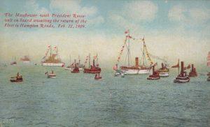 The Mayflower with President Roosevelt waiting for the return of the Fleet