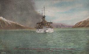 The Atlantic Fleet passing through the Straits of Magellan, February 8, 1908