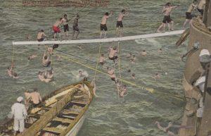 Sailors from Admiral Sperry's fleet bathing in Hawaiian Island waters.