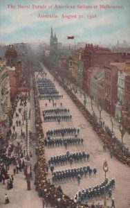 The Naval Parade of American Sailors at Melbourne, Australia. Aug 31, 1908