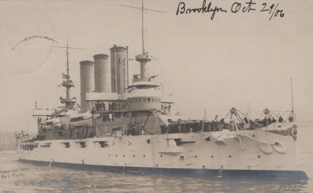 USS Maine - Enrique Muller - 1905 - Postmarked Brooklyn, NY