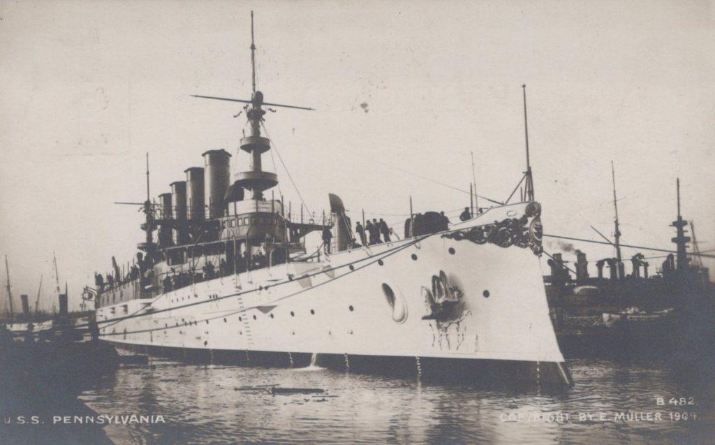 USS Pennsylvania - Enrique Muller - Postmarked Brooklyn, NY