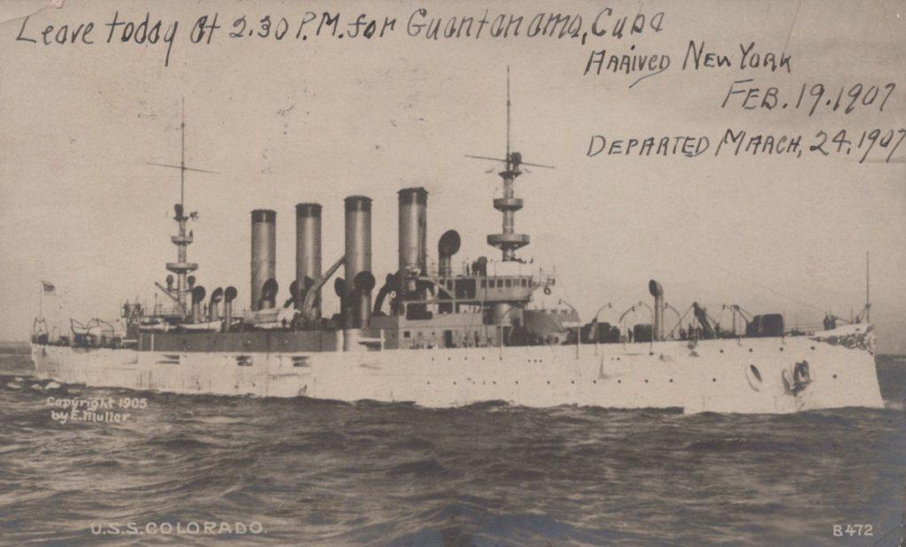 USS Colorado - Enrique Muller - 1905 - Leave Today for Guantanamo, Cuba