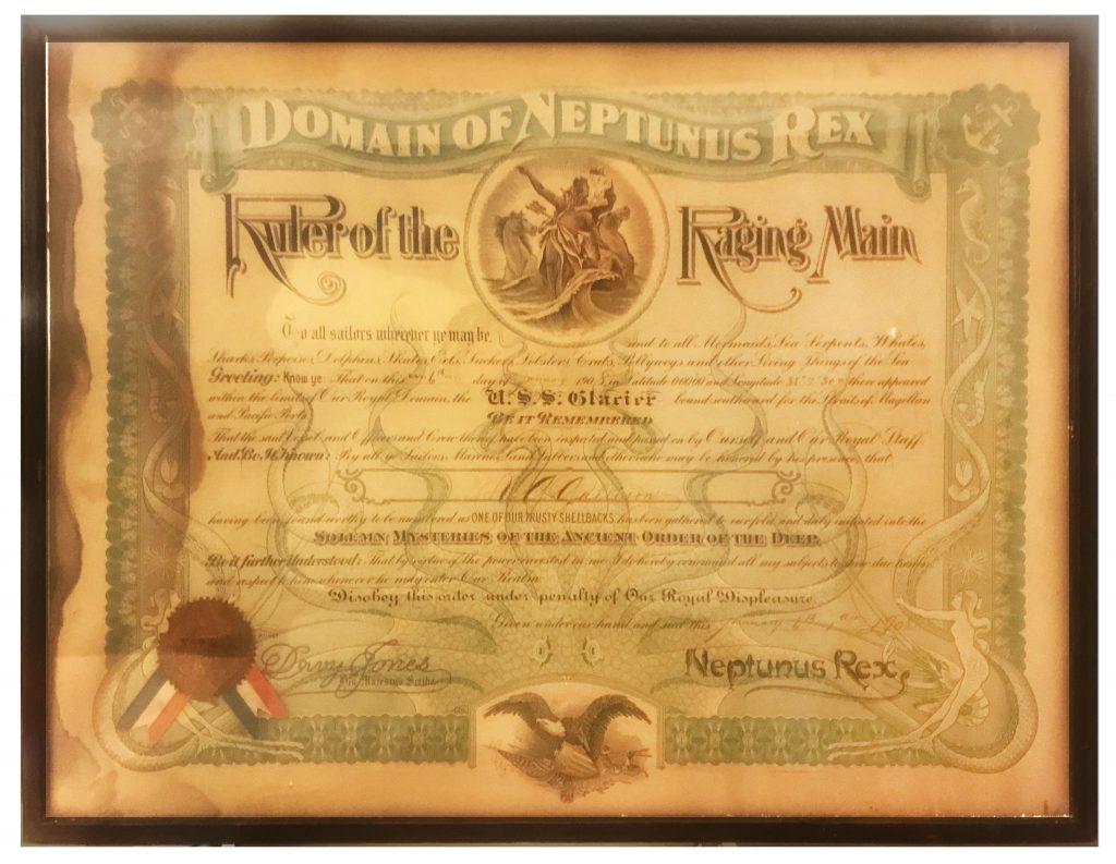 USS Glacier Certificate