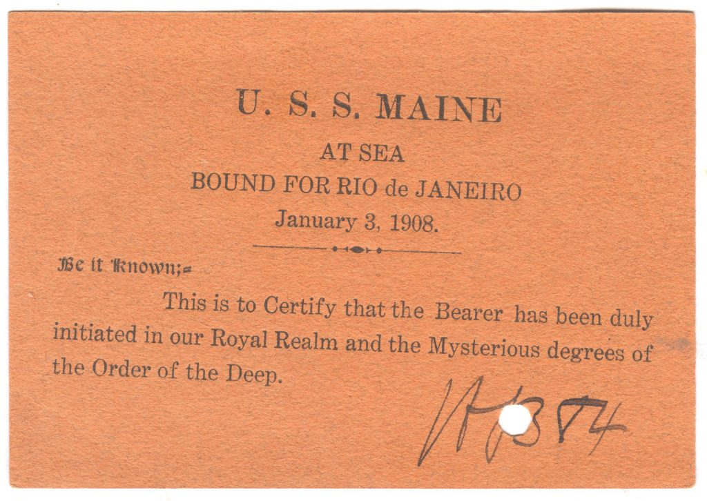 USS Maine - Crossing the Line Card
