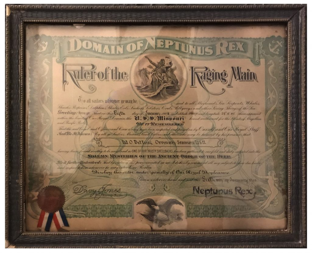 USS Missouri Certificate