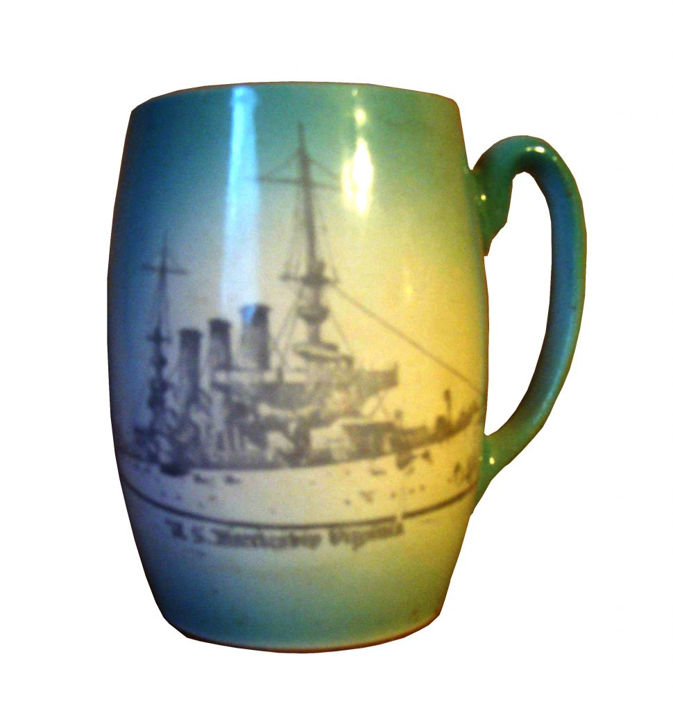 Mug with image of the USS Virginia, the Jamestown Exposition