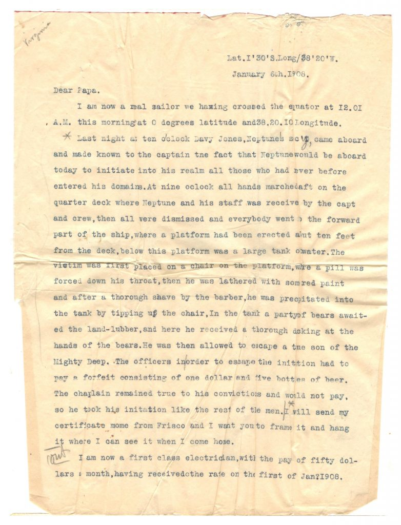 Frank Lesher - Trinidad Letter - January 6, 1908 001