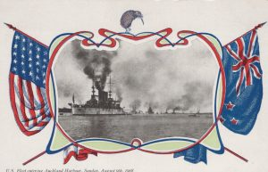 U.S. Fleet entering Auckland Harbor, Sunday, August 9th, 1908