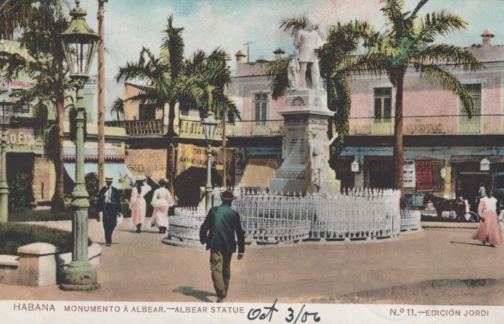 Havana, Cuba - Albear Statue - Postmarked Habana, Cuba October 1906
