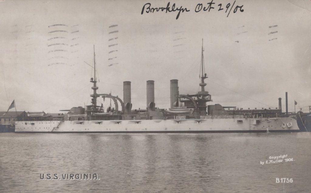 USS Virginia - Enrique Muller 1906 - Postmarked Brooklyn, NY