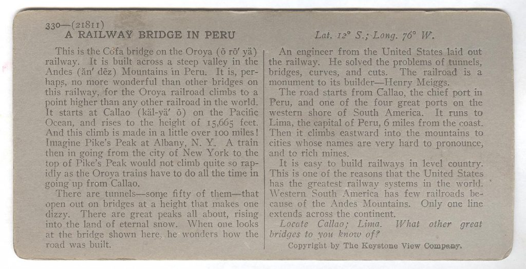 The Oroya Railway Callao - Back 001
