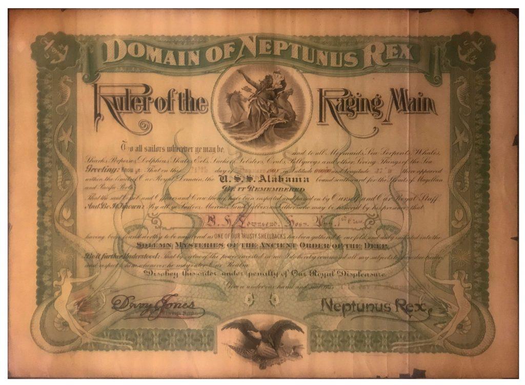 USS Alabama Certificate