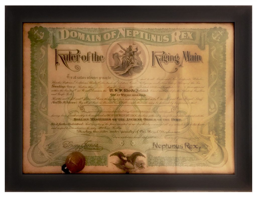 USS Rhode Island Certificate