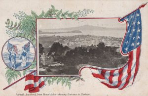 Parnell, Auckland from Mount Eden - showing Entrance to Harbor